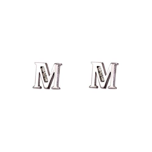 """583-102WM Initial """"M"""" Stud Earrings"""