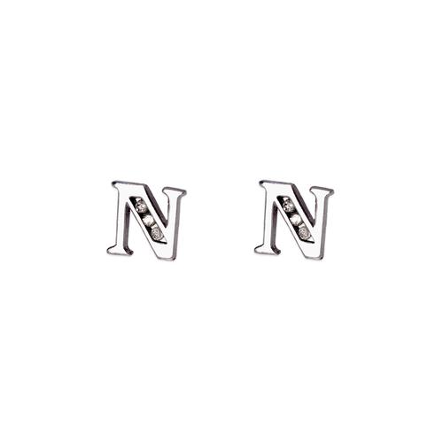 """583-102WN Initial """"N"""" Stud Earrings"""