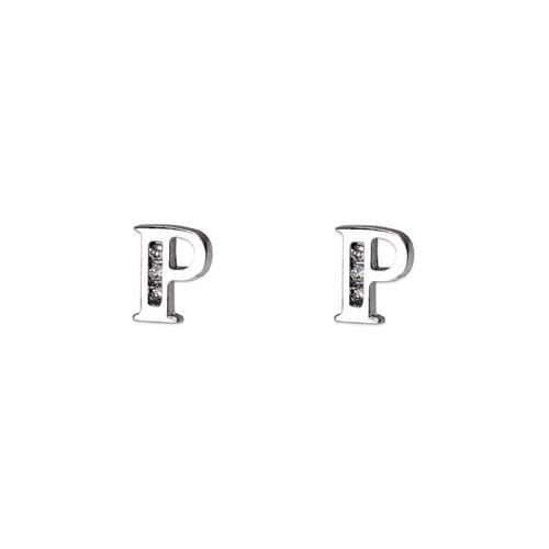"583-102WP Initial ""P"" Stud Earrings"