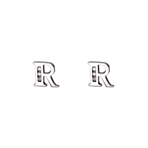 "583-102WR Initial ""R"" Stud Earrings"