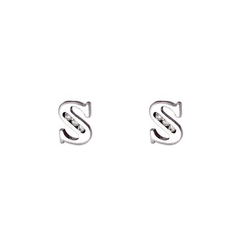 """583-102WS Initial """"S"""" Stud Earrings"""
