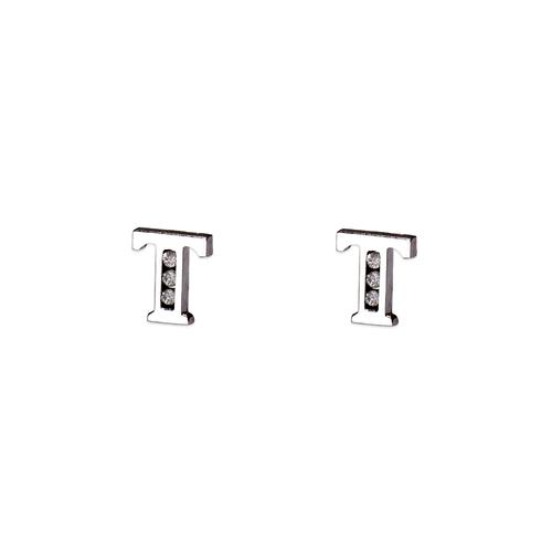"""583-102WT Initial """"T"""" Stud Earrings"""