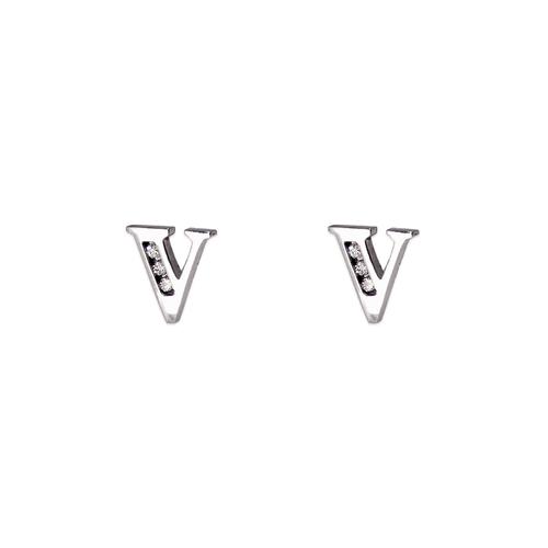 """583-102WV Initial """"V"""" Stud Earrings"""