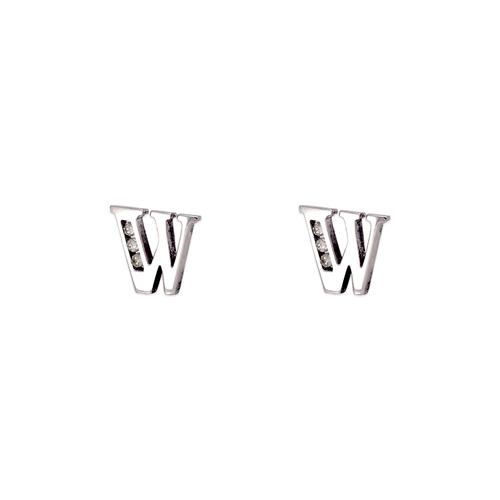"""583-102WW Initial """"W"""" Stud Earrings"""