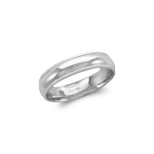 579-013W 5mm Milligrain White Wedding Band