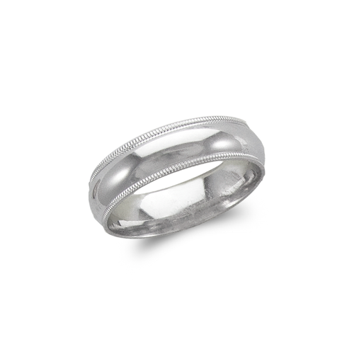 579-014W 6mm Milligrain White Wedding Band