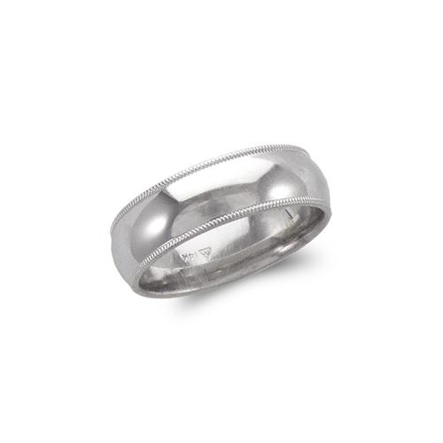 579-015W 7mm Milligrain White Wedding Band