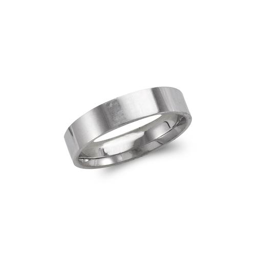 579-034W 5mm Plain White Flat Wedding Band