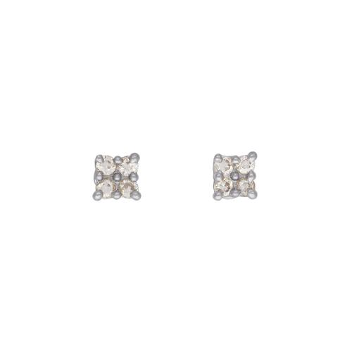 343-205W Square White CZ Stud Earrings