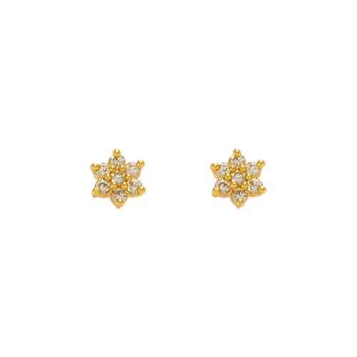 343-207 Flower CZ Stud Earrings