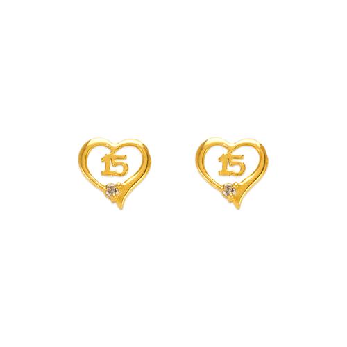 343-215 15 Anos Heart Stud Earrings