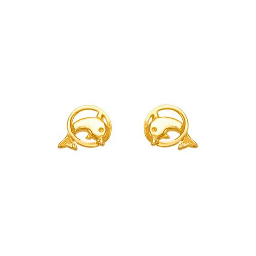 343-219 Dolphin Ring Stud Earrings