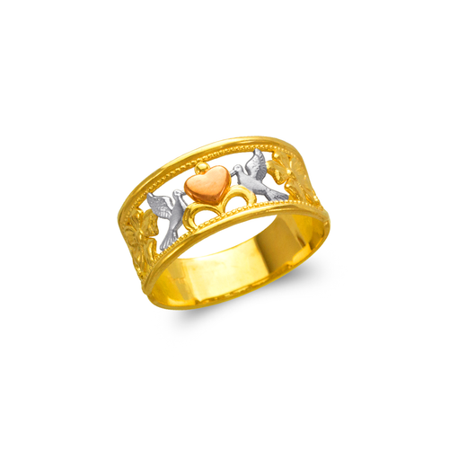 577-215 Ladies Heart and Doves Filigree Ring