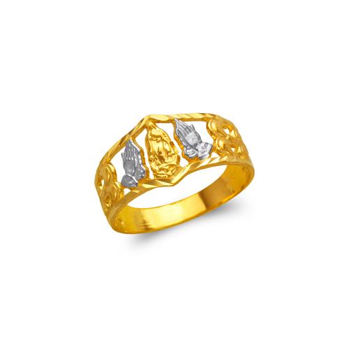 577-216 Ladies Praying Hands and Guadalupe Filigree Ring