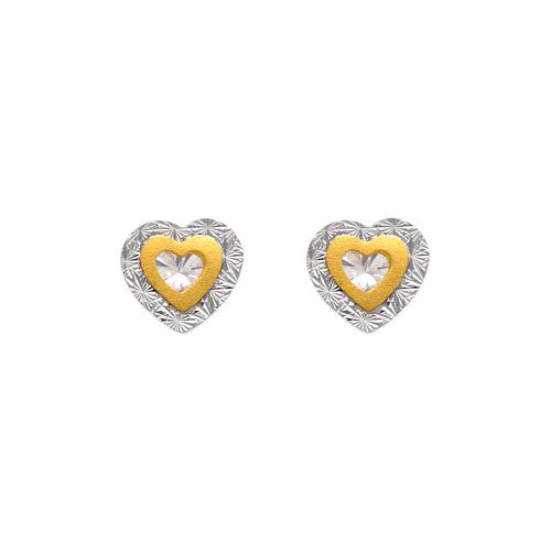 343-227 Double Heart CZ Stud Earrings