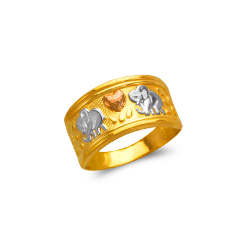 577-218 Ladies Heart and Elephants Filigree Ring