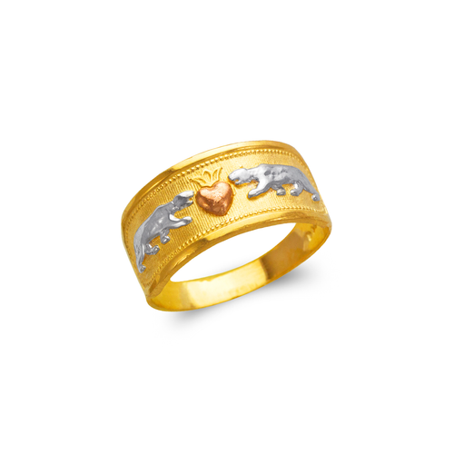 577-220 Ladies Heart and Panthers Filigree Ring