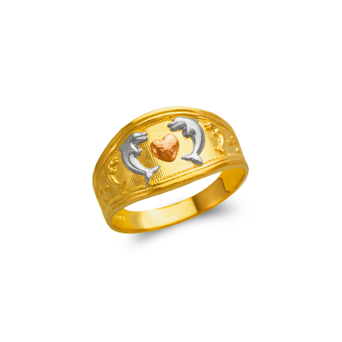577-226 Ladies Heart and Dolphins Filigree Ring