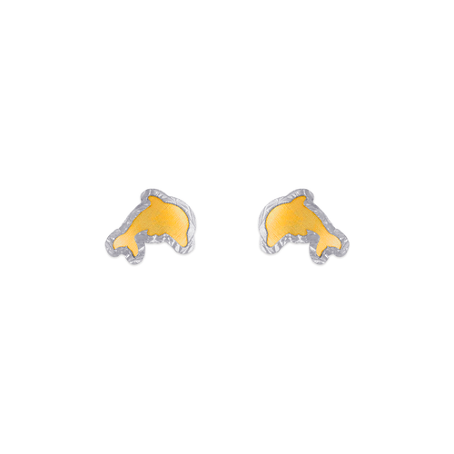 343-222 Diamond Cut Dolphin Stud Earrings