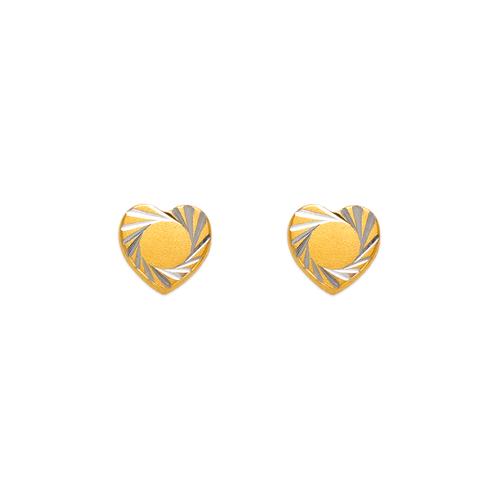 343-225 Diamond Cut Heart Stud Earrings