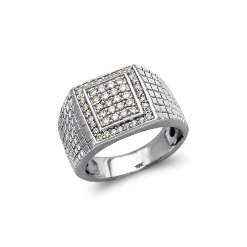 679-002W Men's White Cluster CZ Ring