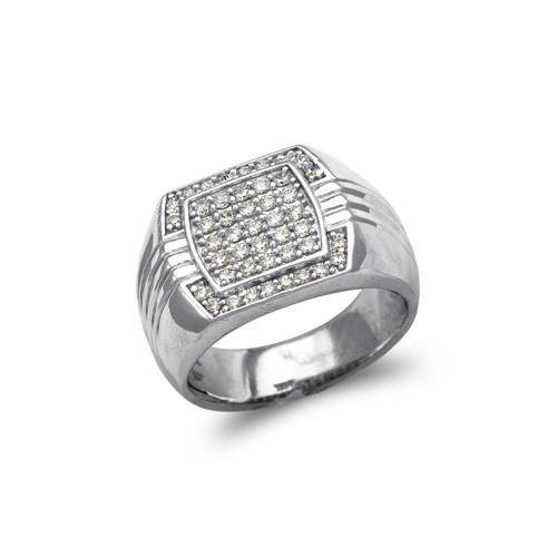 679-003W Men's White Cluster CZ Ring