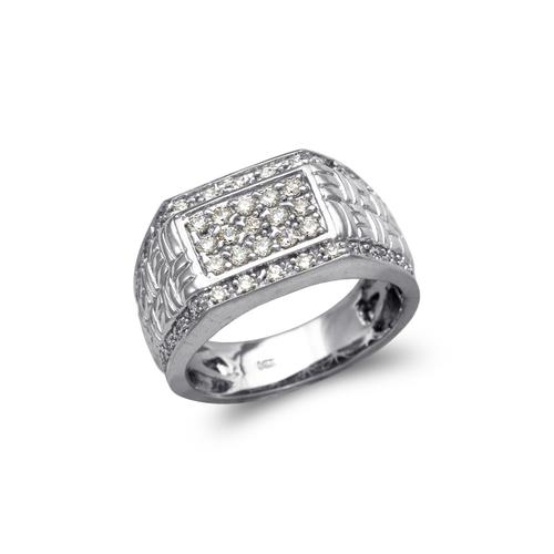 679-004W Men's White Cluster CZ Ring