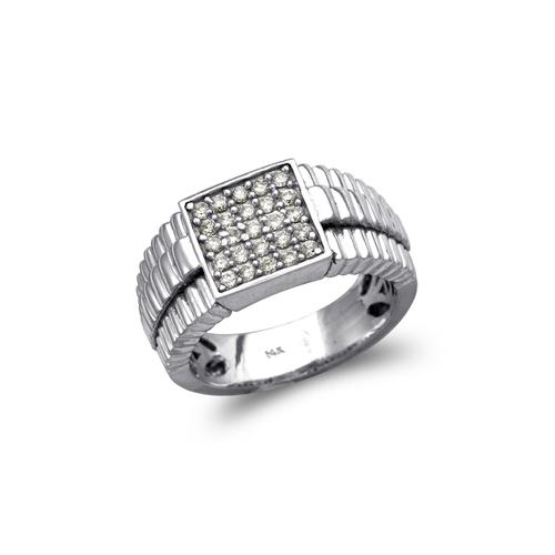 679-005W Men's White Cluster CZ Ring