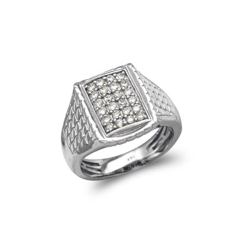 679-007W Men's White Cluster CZ Ring