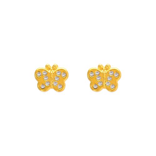 343-228 Butterfly CZ Stud Earrings