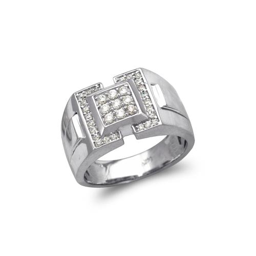 679-010W Men's White Cluster CZ Ring