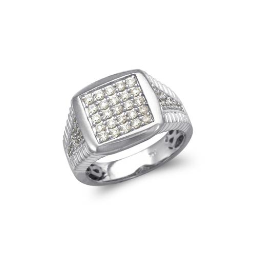 679-011W Men's White Cluster CZ Ring
