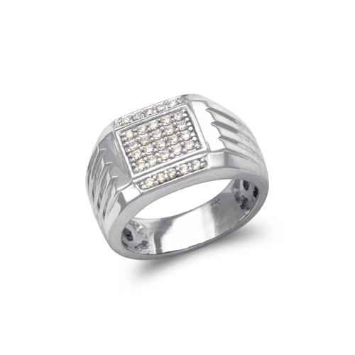 679-013W Men's White Cluster CZ Ring