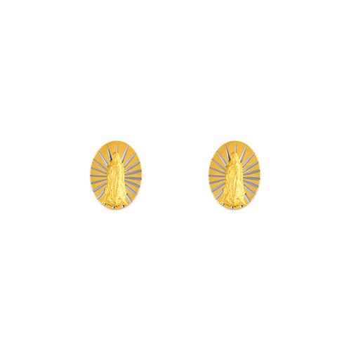 343-301 Small Virgin Mary Oval Stud Earrings