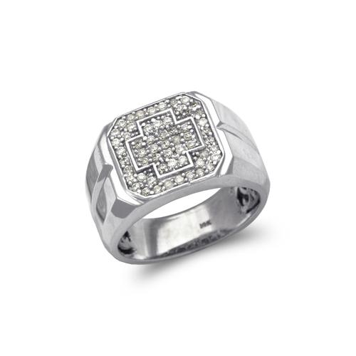 679-014W Men's White Cluster CZ Ring
