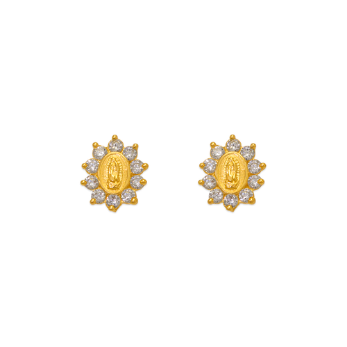 343-306WH Guadalupe Flower CZ Stud Earrings