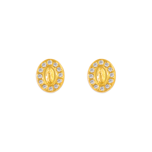 343-307WH Guadalupe Oval CZ Stud Earrings
