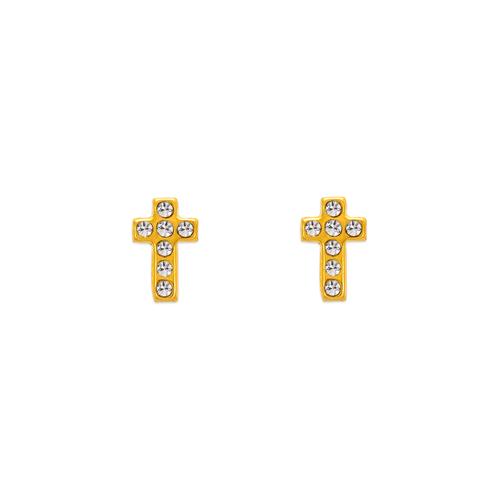 343-321 Cross CZ Stud Earrings
