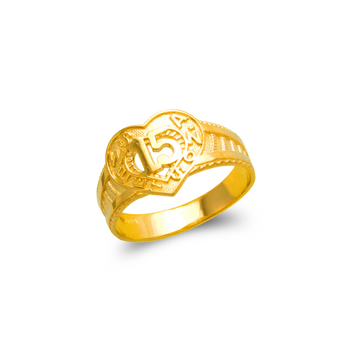 678-008 Ladies 15 Anos Heart Filigree Ring