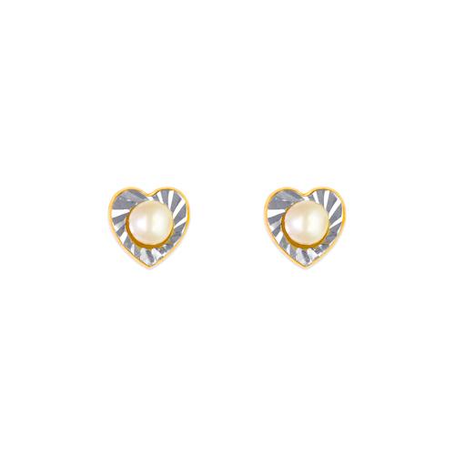 343-351 Heart and Pearl Stud Earrings