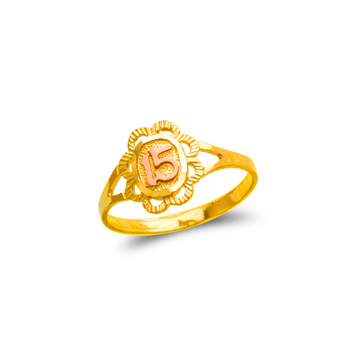 678-036 Ladies 15 Anos Flower Filigree Ring