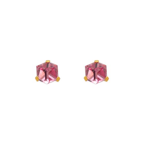 343-402 Pink Disco Cube CZ Stud Earrings