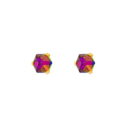 343-403 Disco Cube CZ Stud Earrings