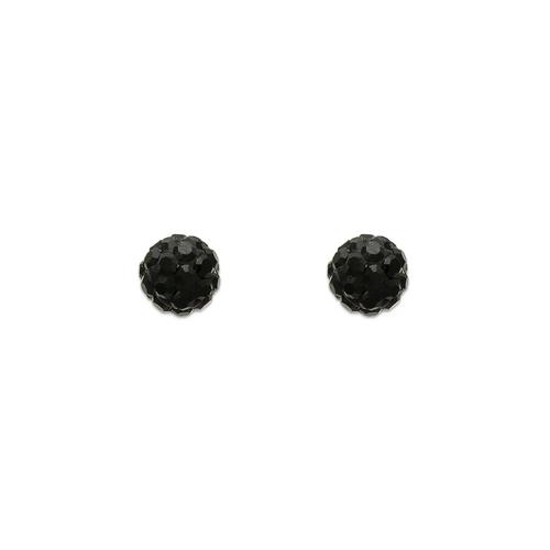 343-501BK 5mm Black Enamel Ball CZ Stud Earrings