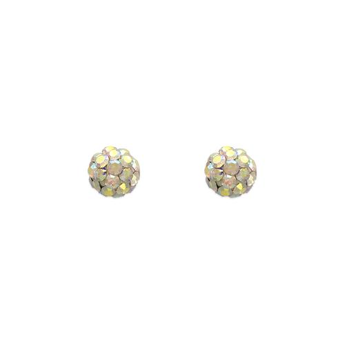 343-501MX 5mm Multi-Colored Enamel Ball CZ Stud Earrings