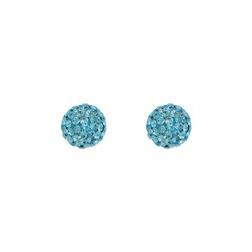 343-502BL 7mm Blue Ball Enamel CZ Stud Earrings