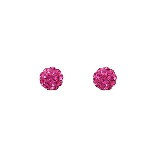 343-501PK 5mm Pink Ball Enamel CZ Stud Earrings