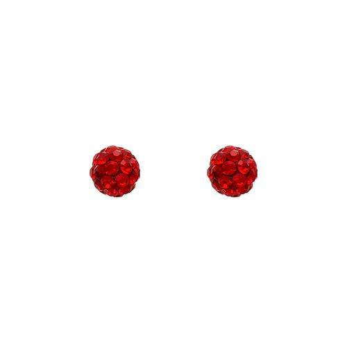343-501RD 5mm Red Ball Enamel CZ Stud Earrings