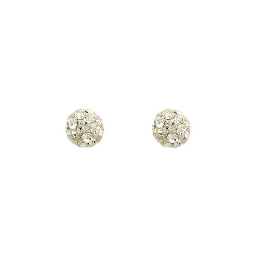 343-501WH 5mm Ball White Enamel CZ Stud Earrings