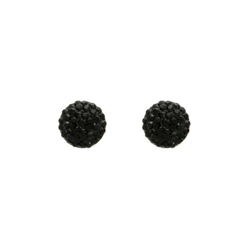 343-503BK Black Ball Enamel Flat Ball CZ Stud Earrings 8mm